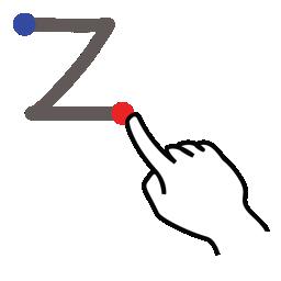 gestureworks, letter, lowercase, stroke, z icon