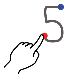 five, gestureworks, number, stroke icon