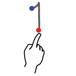 gestureworks, number, one, stroke icon