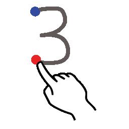 gestureworks, number, stroke, three icon