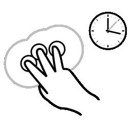 finger, gestureworks, hold, three icon
