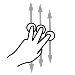 finger, gestureworks, scroll, three icon