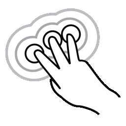 finger, gestureworks, tap, three, triple icon