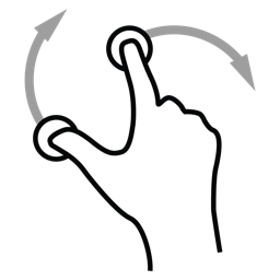 finger, gestureworks, rotate, two icon