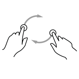 finger, gestureworks, hand, rotate, two icon