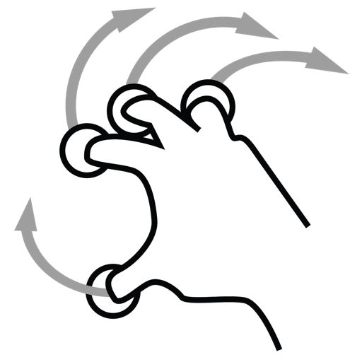 finger, four, gestureworks, rotate icon