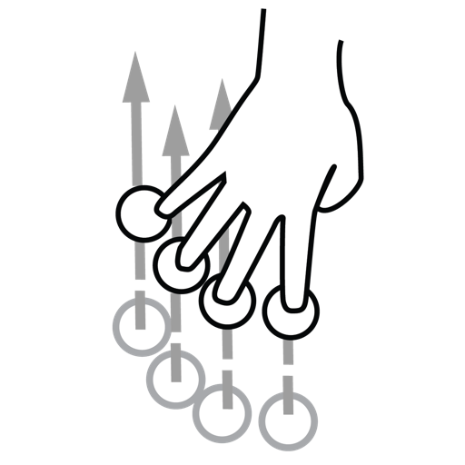 finger, four, gestureworks, swipe icon