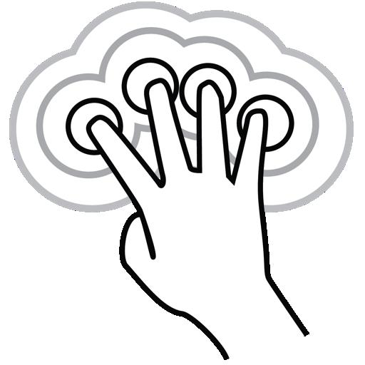 finger, four, gestureworks, tap, triple icon