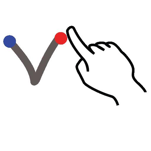 gestureworks, letter, stroke, uppercase, v icon