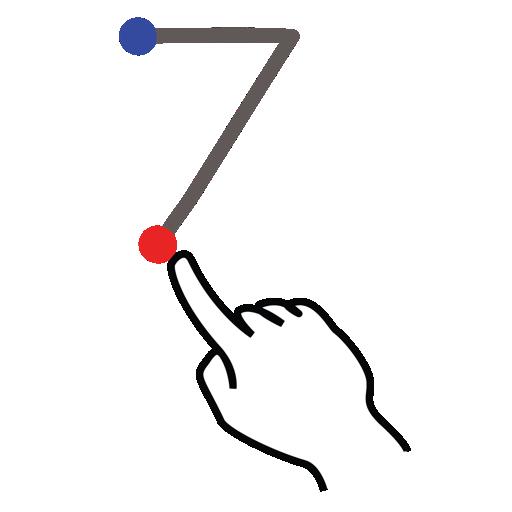 gestureworks, number, seven, stroke icon