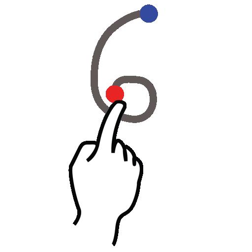 gestureworks, number, six, stroke icon