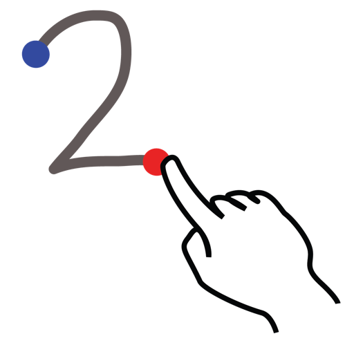 gestureworks, number, stroke, two icon