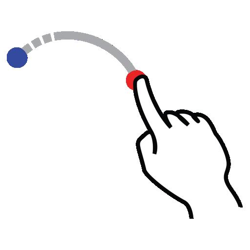 arc, down, gestureworks, shape, stroke icon