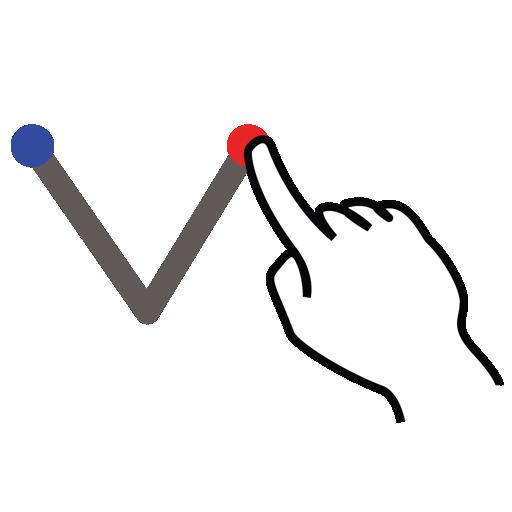 chevron, down, gestureworks, stroke icon