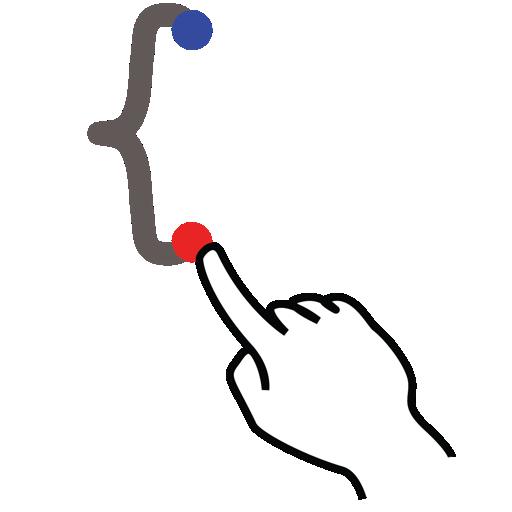 bracket, curly, gestureworks, left, stroke icon