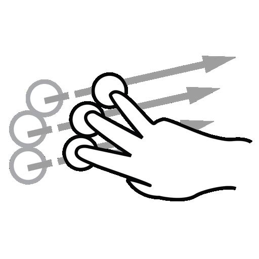 finger, flick, gestureworks, three icon