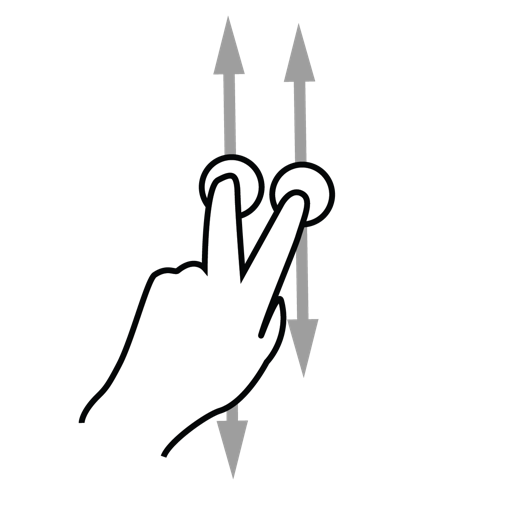 finger, gestureworks, scroll, two icon