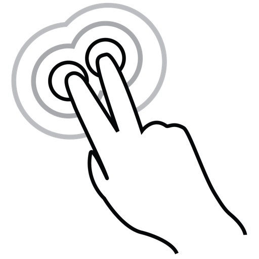 finger, gestureworks, tap, triple, two icon