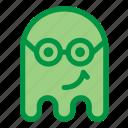 emoji, emoticon, geek, ghost, glasses, halloween, smile icon