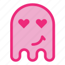 emoji, emoticon, ghost, happy, love, smile icon