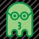 emoji, emoticon, geek, ghost, glasses, halloween, kiss icon