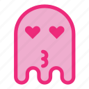 emoji, emoticon, ghost, kiss, love icon