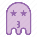 emoji, emoticon, ghost, kiss, star icon