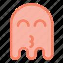 emoji, emoticon, ghost, halloween, happy, kiss icon