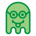 emoji, emoticon, geek, ghost, glasses, halloween, tongue icon
