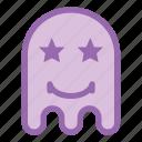 emoji, emoticon, ghost, smile, star icon