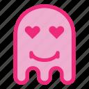 emoji, emoticon, ghost, love, smile icon