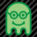 emoji, emoticon, geek, ghost, glasses, halloween icon