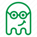 emoji, emoticon, geek, ghost, glasses, smile icon