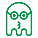 emoji, emoticon, geek, ghost, glasses, kiss icon