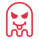 angry, demon, devil, emoji, emoticon, ghost, tongue icon