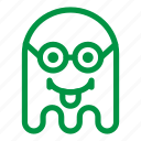 emoji, emoticon, geek, ghost, glasses, smart, tongue icon