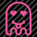 emoji, emoticon, ghost, love, tongue icon