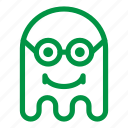 emoji, emoticon, geek, ghost, glasses, smile icon