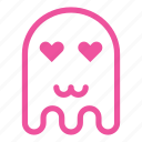 cat mouth, emoji, emoticon, ghost, love icon