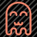cat mouth, emoji, emoticon, ghost, happy icon