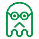 emoji, emoticon, geek, ghost, glasses, sad icon