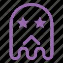 emoji, emoticon, ghost, sad, star icon