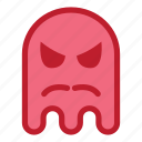 angry, emoji, emoticon, ghost, halloween, mustache, react icon