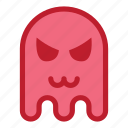 angry, cat mouth, emoji, emoticon, ghost, halloween icon