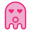 emoji, emoticon, ghost, halloween, love, wow icon