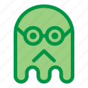 emoji, emoticon, geek, ghost, glasses, halloween, sad icon