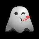 emoji, emoticon, feeling, ghost, kiss, kissing, love, loved, romantic, smiley icon