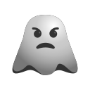 annoyed, emoji, emoticon, ghost, poutin, smiley icon