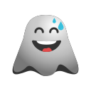emoji, emoticon, face, ghost, laughing, smile, smiley, tears icon