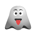 crazy, emoji, emoticon, ghost, naughty, out, smiley, stuck, tongue icon